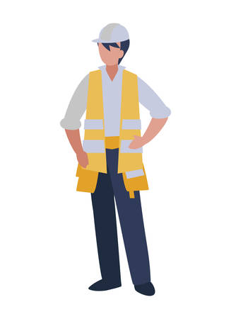 Architect avatar man with white helmet design of Construction working maintenance worker job workshop repairing and progress theme Vector illustration