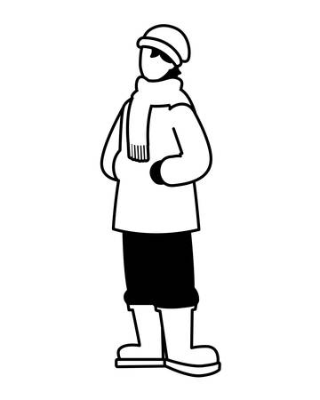 man standing with winter clothes on white background vector illustration design