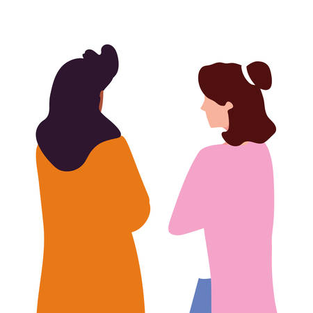 women of back position on white background vector illustration design Vectores