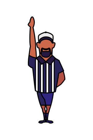 american football referee with his hand up on white background vector illustration design Illustration
