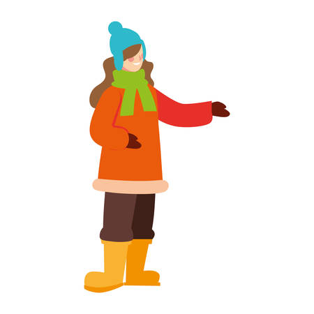 woman standing with winter clothes on white background vector illustration design