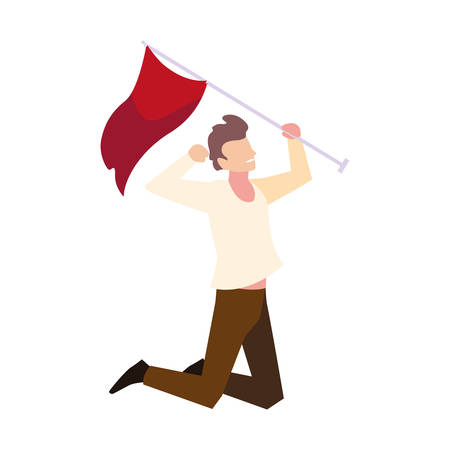 man with flag waving on a stick on white background vector illustration design