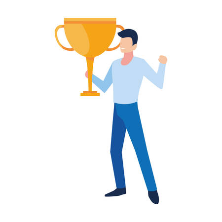 man with trophy gold in white background vector illustration design