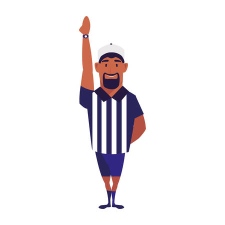 american football referee with his hand up on white background vector illustration design Ilustração
