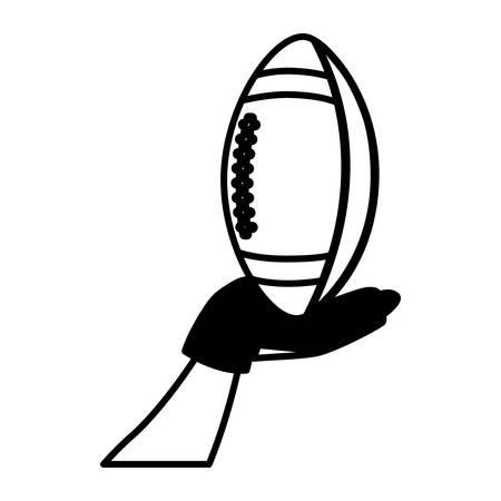 hand holding american football ball on white background vector illustration design Ilustrace