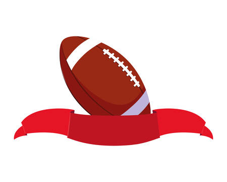 american football ball with ribbon on white background vector illustration design Ilustrace
