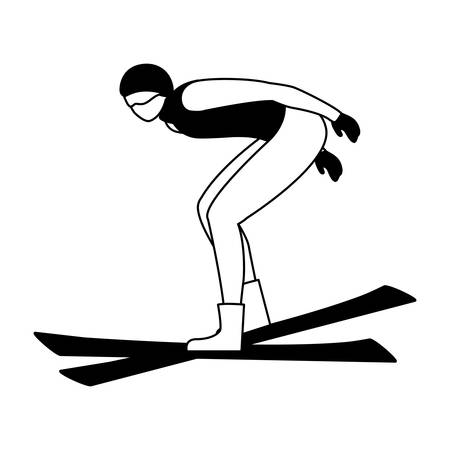 man practicing sport extreme winter on white background vector illustration design