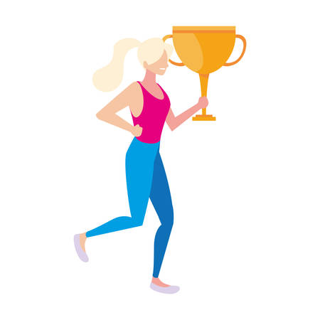 woman with trophy gold on white background vector illustration design