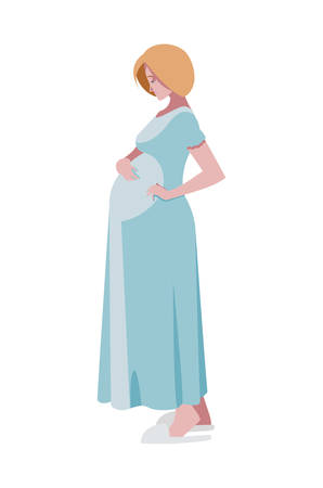 beautiful pregnancy woman character vector illustration design