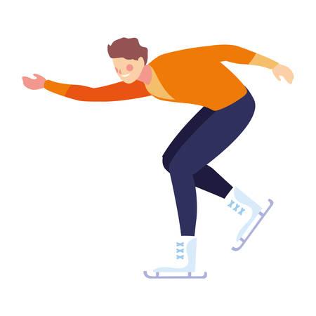 man practicing figure skating on white background vector illustration design