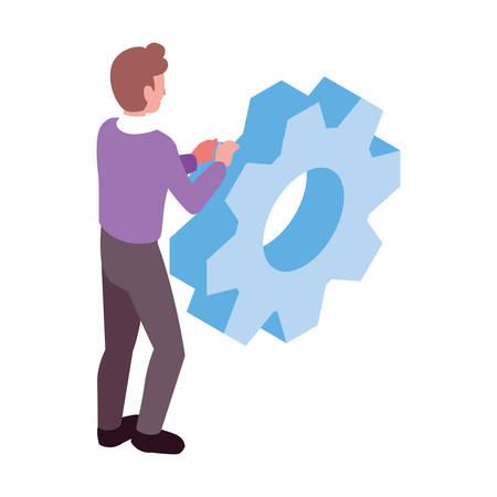 man with gearwheel on white background vector illustration design Stock Illustratie