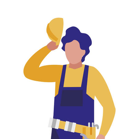 Builder avatar man with yellow helmet design of Construction working maintenance worker job workshop repairing and progress theme Vector illustration