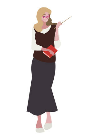 female teacher with textbook character vector illustration design 向量圖像