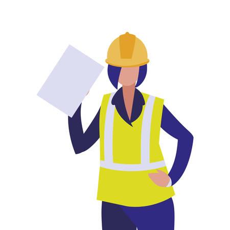 Builder avatar woman with yellow helmet design of Construction working maintenance worker job workshop repairing and progress theme Vector illustration Ilustração
