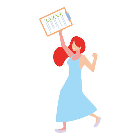 woman with clipboard on white background vector illustration design