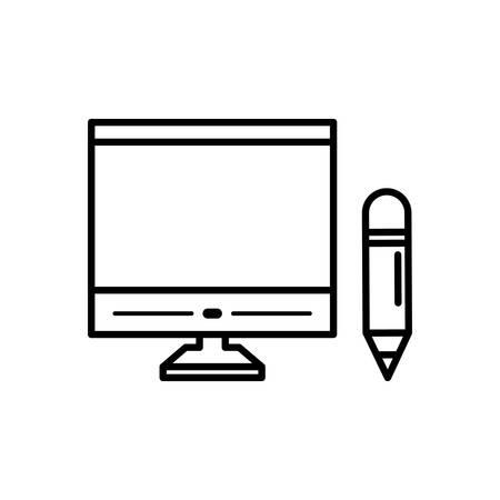 desktop computer with pencil vector illustration design Illustration