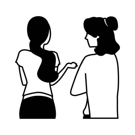 women of back position on white background vector illustration design Vectores