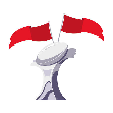american football award with flags on white background vector illustration design Ilustrace