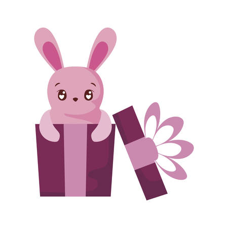 Cute rabbit cartoon inside gift design, Animal zoo life nature character childhood and adorable theme Vector illustration