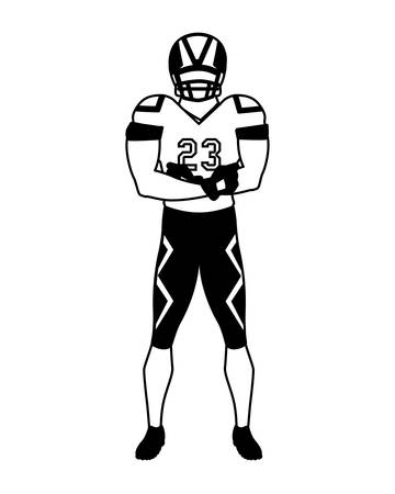 man team player american football with uniform on white background vector illustration design Ilustrace