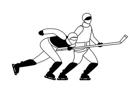men playing ice hockey in white background vector illustration design Ilustrace