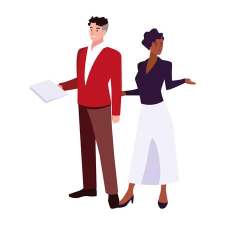 business couple standing on white background vector illustration design Иллюстрация
