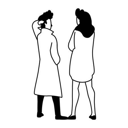 couple of people in back position on white background vector illustration design Illusztráció