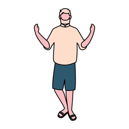 man standing faceless on white background vector illustration design