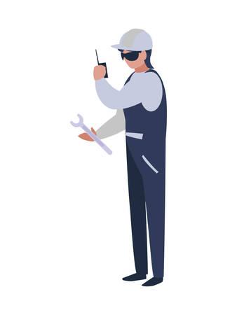 Architect avatar man with white helmet design of Construction working maintenance worker job workshop repairing and progress theme Vector illustration Ilustracja