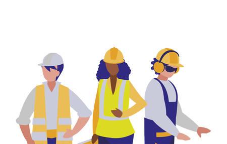 Builders architects engineers men and woman design of Construction working maintenance worker job workshop repairing and progress theme Vector illustration Ilustração