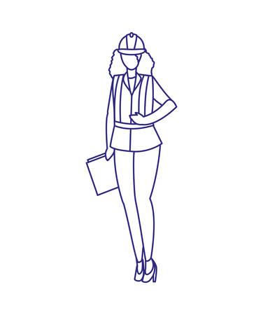 Builder avatar woman with helmet design of Construction working maintenance worker job workshop repairing and progress theme Vector illustration Ilustração