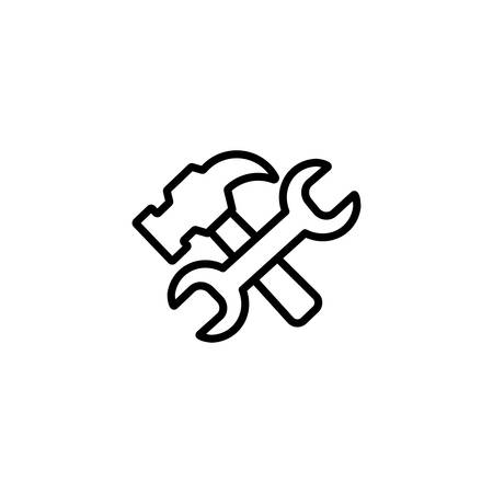 wrench and hammer design, Construction work repair reconstruction industry build and project theme Vector illustration Ilustração