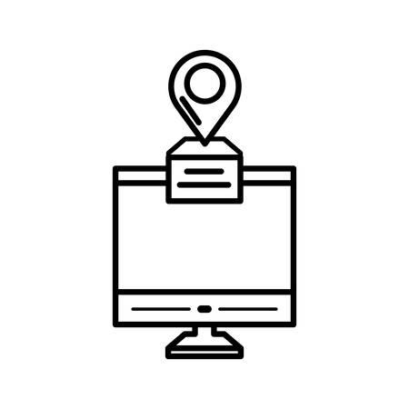desktop with pin location gps app vector illustration design Illustration