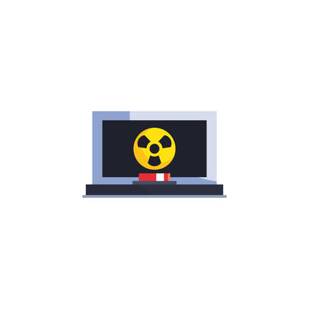 factory biohazard laptop design, Industry plant building industrial construction job work technology and manufacturing theme Vector illustration
