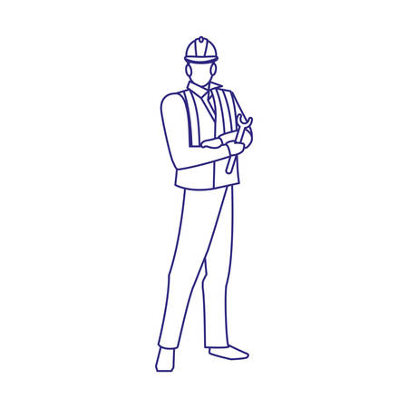 Builder avatar man with helmet design of Construction working maintenance worker job workshop repairing and progress theme Vector illustration