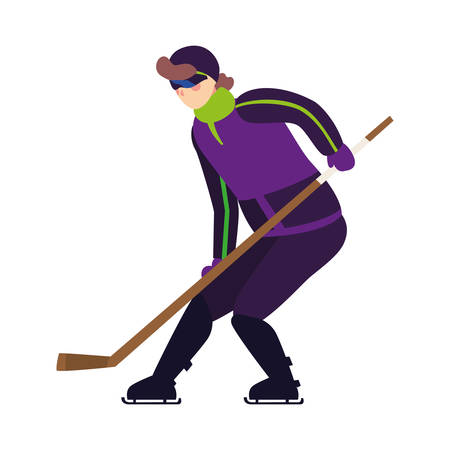 man playing ice hockey in white background vector illustration design
