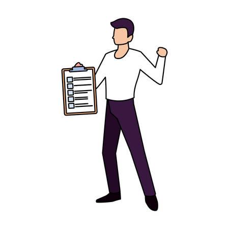 man with clipboard on white background vector illustration design Illusztráció