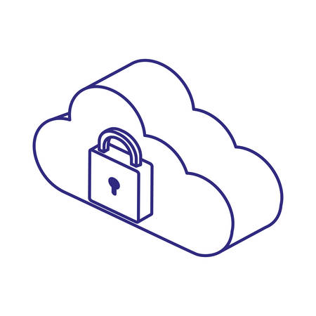 Padlock and cloud design of Security system warning protection danger web alert and safe theme Vector illustration