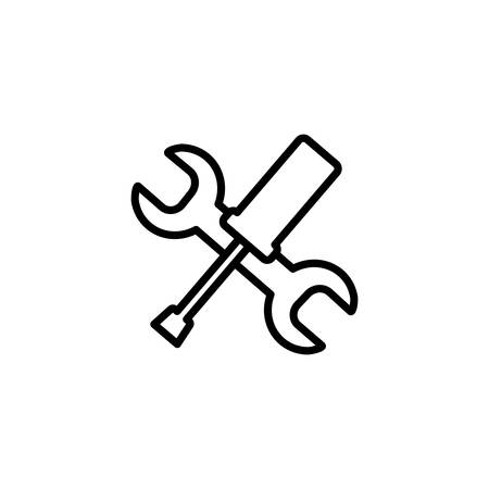 wrench and screwdriver design, Construction work repair reconstruction industry build and project theme Vector illustration