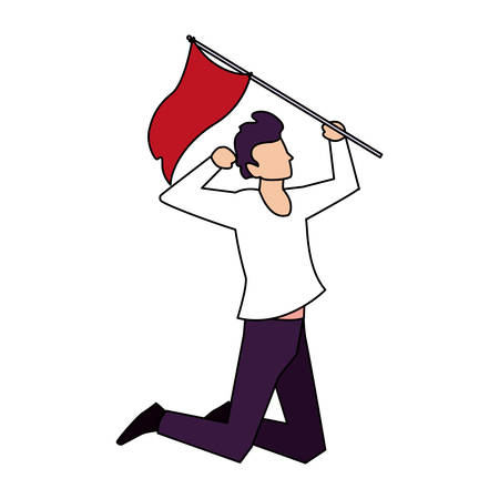 man with flag waving on a stick on white background vector illustration design 일러스트