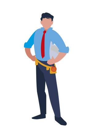 Architect avatar man with white helmet design of Construction working maintenance worker job workshop repairing and progress theme Vector illustration Ilustração