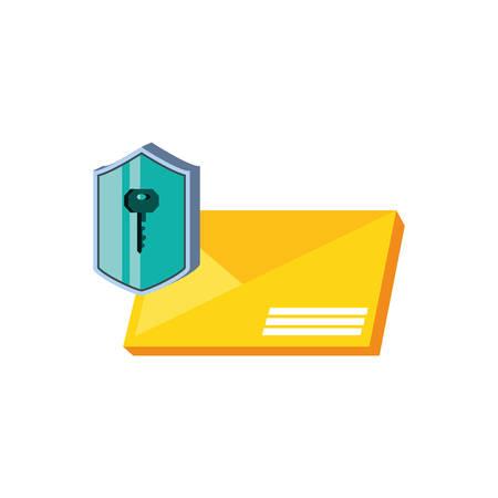envelope mail with shield secure vector illustration design