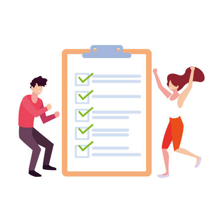 couple of people with clipboard on white background vector illustration design