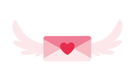 envelope with wings in white background vector illustration design