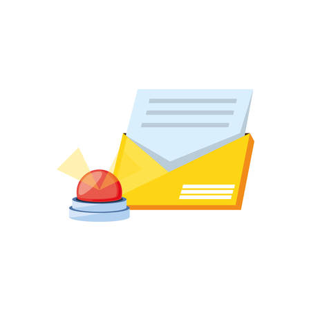 envelope mail with emergency light vector illustration design