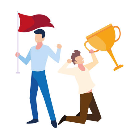 young men with gold trophy and red flag vector illustration design