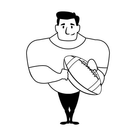 man holding a american football ball on white background vector illustration design