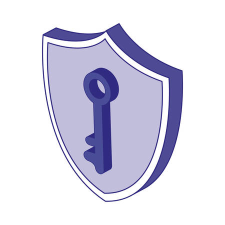 Key and shield design of Security system warning protection danger web alert and safe theme Vector illustration