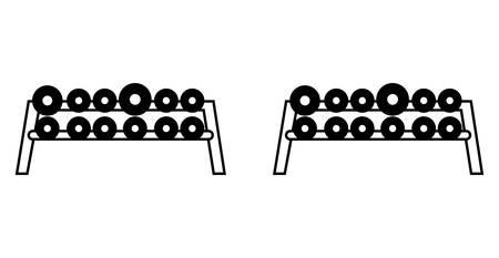 dumbbells weight lifting in platform equipment vector illustration design Vectores
