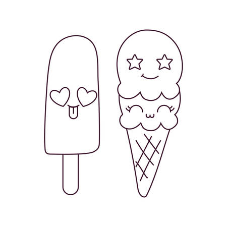 ice cream cartoon design, expression cute character funny and emoticon theme Vector illustration Illustration